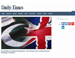 Cross-border enterprise development : UK to help enhance entrepreneurial landscape in Pakistan