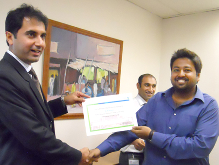 Award Ceremony at SCB for Team Gizelle for Completion of the Largest CSR Media Project in the Country at JIAP - KHI