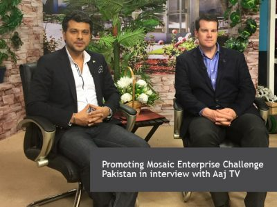 Promoting Mosaic Enterprise Challenge Pakistan in interview with Aaj TV