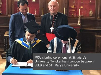 MOU signing ceremony at St. Mary's University Twickenham London between SEED and ST. Mary's University