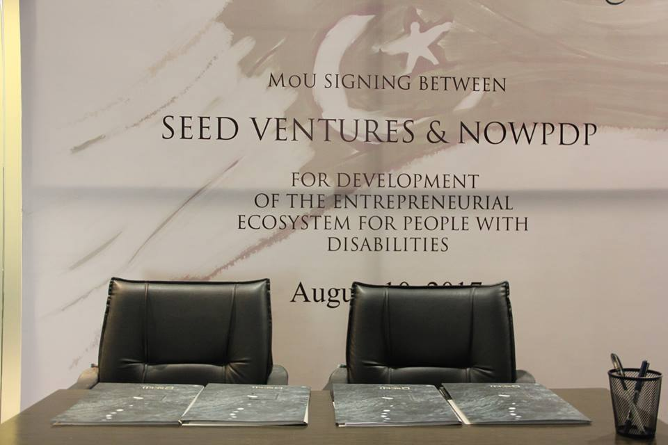Faraz Khan, CEO SEED Ventures and Amin Hashwani, President NOWPDP, signed the MoU