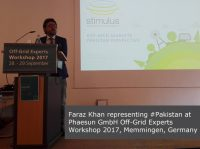 Faraz Khan representing #Pakistan at Phaesun GmbH Off-Grid Experts Workshop 2017, Memmingen, Germany